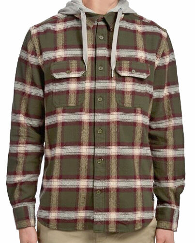 NWT Mens Large Multi #28051-F2 DC Shoes Runnels Flannel Shirt Hoodie R1198