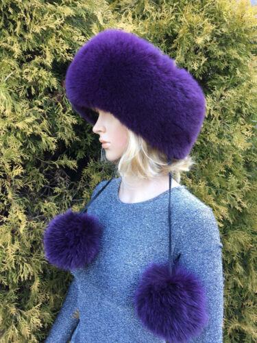 60cm Dark Purple Saga FursTwo in One Fox Fur Headband as Scarf  24/' Inch.