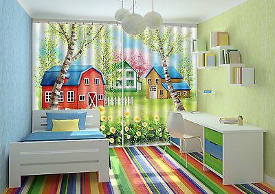 3d Bunten Häusern 5 Blockade Foto Vorhang Druckvorhang Vorhänge Stoff Fenster De Kunden Zuerst