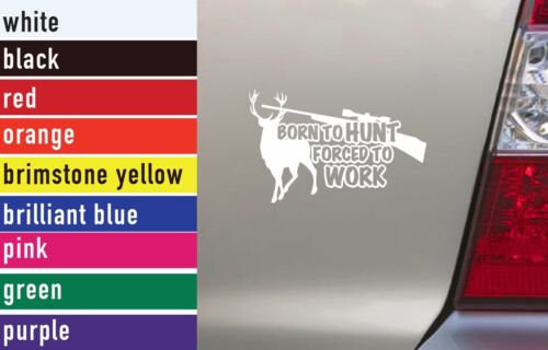 Born To Hunt Forced To Work Hunting Vinyl Sticker Decal Car-Truck Laptop 1513