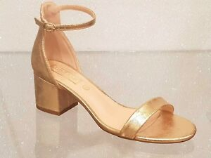 f378659b815 LADIES ROSE GOLD ANKLE STRAP SANDALS BLOCK HEEL SIZES 3-8 HALLIE1 | eBay