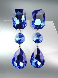 GLITZY-Sapphire-Blue-Czech-Crystals-LONG-Bridal-Queen-Pageant-Prom-CLIP-Earring