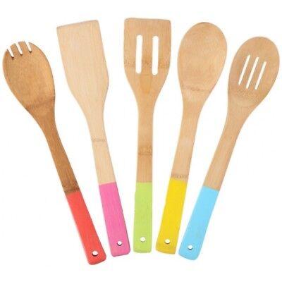 5 x Bambou cuillères en bois Spatule Cuillère de cuisine Ustensiles de cuisson outils Turner Set