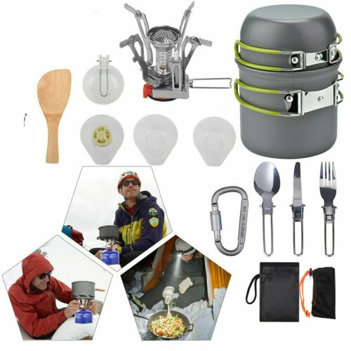 neu 1-2 Person Kochtopf Camping Kochgeschirr Outdoor-Töpfe Bratpfanne Set btn