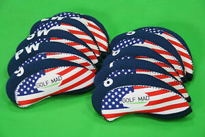 10-Golf-Mad-Iron-Headcovers-USA-Flag-for-Callaway-Taylormade-Mizuno-Only