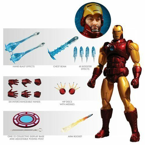 Iron Man Deluxe ONE 12 Light up Figure Tony Stark NEW MEZCO Avengers New Hot