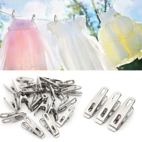 20 Pcs Stainless Steel Washing Line Clothes Pegs Hang Pins Metal Clips Clamps UK