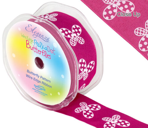 8 couleurs wired edge 1m x 38mm Eleganza papillon motif ruban