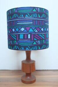 Original 80s Fabric Lampshade - Retro, 25cm Drum, Blue, Purple, Green