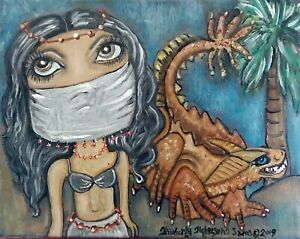 Belly-Dancer-Basilisk-Dragon-Original-Acrylic-Painting-8x10-Sahara-Desert-KSams