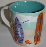 Starbucks Hawaii Coffee Tea Kids Mug Cup Ocean Turtle Surfboard Surf 10 Oz.