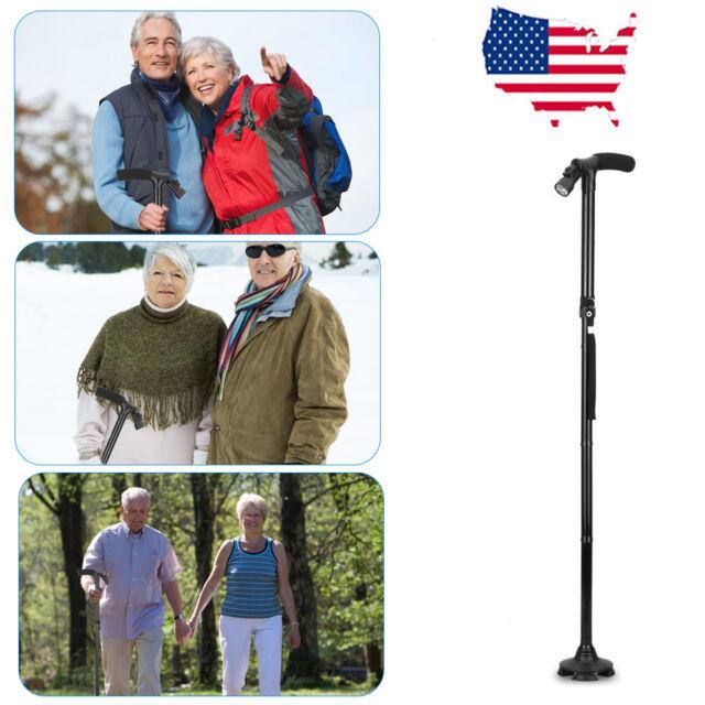 Magic LED Walking HurryCane Stick Self Standing Base Foldable Cane Travel Black