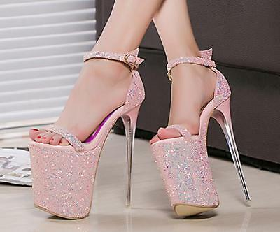 Women/'s  Ankle Strappy Stilettos 20cm High Heels Sequins Bling Platform Shoes