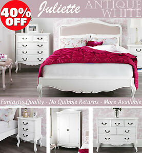 FRENCH-Furniture-Stunning-White-bedside-table-chest-of-drawers-wardrobe-bed