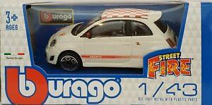 1-43-FIAT-500-ABARTH-BLANCO-Y-ROJO-BURAGO-ESCALA-SCALE-CAR-DIECAST