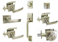 Satin Nickel Square door lever entrance privacy passage locks deadbolt Brushed