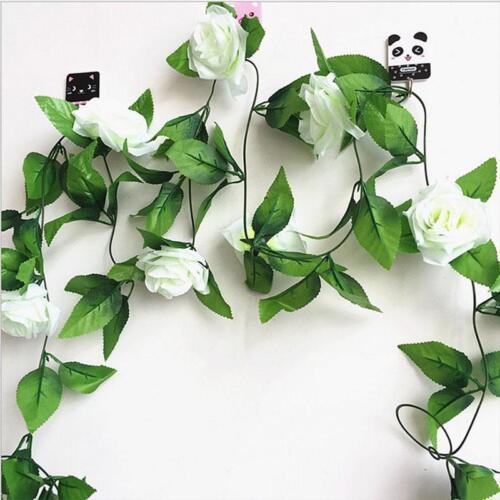 Colgante Guirnalda Rosas Vid Con Hojas Verdes Artificial Falso Flores Decoraciones
