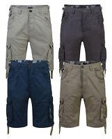 Firetrap New Men's Plain Cargo Combat Bermuda Shorts Summer Casual Cotton Pants