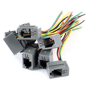 10-Stk-616E-4P4C-RJ9-Weiblicher-Telefon-Stecker-Adapter-mit-4-Draehten-8c-H4O5