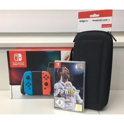 Nintendo Switch neonrot /neonblau  + Transport Case +Switch  Fifa 18