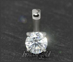 Diamant-Brillant-585-Gold-Anhaenger-0-31-ct-River-E-amp-Lupenrein-Damenanhaenger