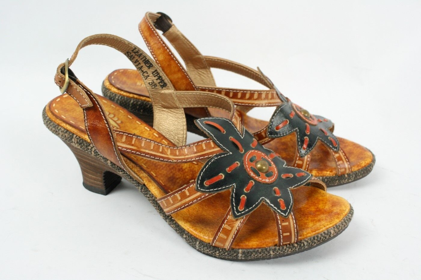 SPRING STEP Salvia Flower Floral Tan Brown Leather Sandal Pumps Women 38 7.5 8