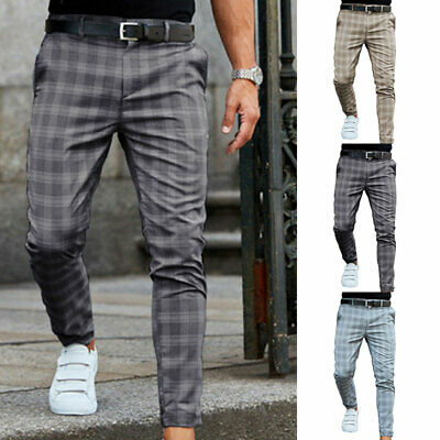 Mens Plaid Slim-Fit Pencil Pants Formal Casual Wedding Business Skinny Trousers#