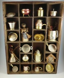 Vintage-Dollhouse-Miniature-Copper-Brass-Pot-Pan-Set-20pc-Artisan-Hand-made-Rare
