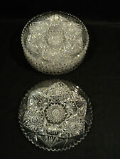 SET/6 AMERICAN BRILLIANT PERIOD CUT GLASS DESSERT PLATES
