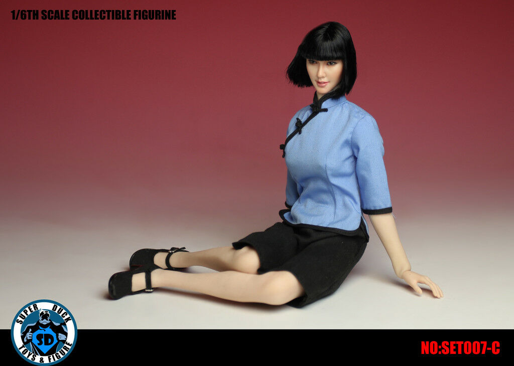 Super Duck 1:6 Chinese Student Uniform in Blue Color with Head #SET007C