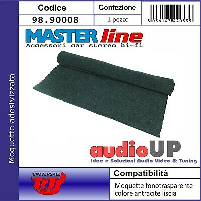 Moquette acustica adesiva nero 65x151cm per interni subwoofer e pianali