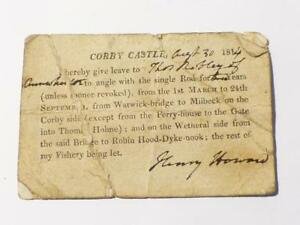 1814-Corby-Castle-Henry-Howard-Fishing-Permit-Licence-Cumbria-HENS-TEETH-CCB