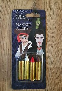 Master-of-Disguise-Make-up-sticks-kit-x4-colours-black-white-red-brown-Halloween