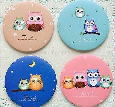 Owl Couple Blue Colour Portable Small Beauty Mirror yr1704360246