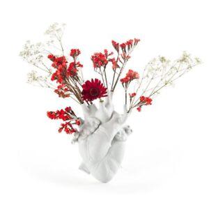 Vaso / Scultura Cuore  In Porcellana bianca Love In Bloom Design Seletti