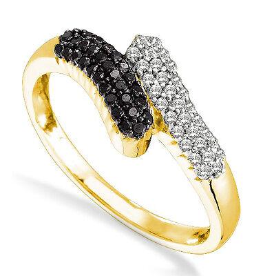HOT! 100% 14K Yellow Gold Black & White Diamond Bypass Style Band Ring - .25ct