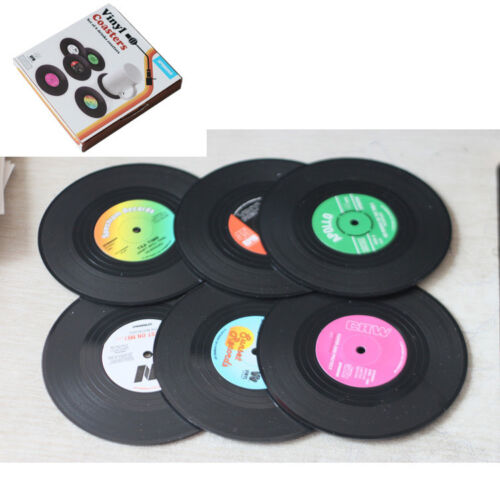 6x Vinyl Coaster Groovy Record Mug Cup Drinks Holder Mat Pad Tableware Placemat