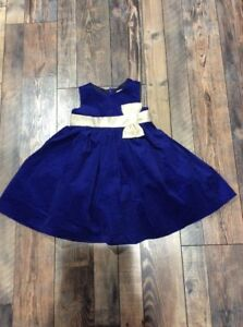 NWT Gymboree Blue Velvet Gold Bow Christmas Holiday Party Dress Toddler Girl