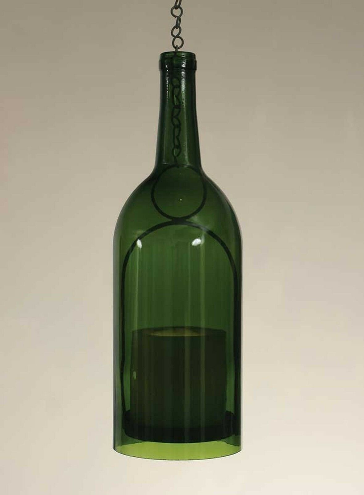 1.5 Liter Wine Bottle Hanging Pillar Candle Holder - Emerald Green Bottle