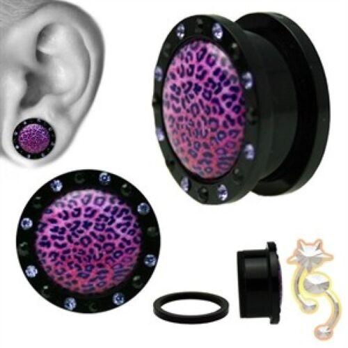 Cheetah Peau Bouchons Noir Violet Zircone cubique Imprimé Animal Ear Gauge Body Jewelry Tunnel