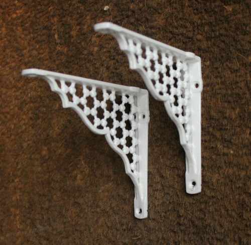 "2 x 6/"" x 5/"" HONEYCOMB ANTIQUE CAST IRON VICTORIAN SHELF BRACKETS WHITE BR05wx2"