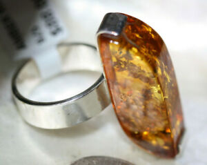 Amazing-925-Silver-Large-Genuine-Honey-Brown-Cognac-Fab-Polish-Amber-Ring-Sz-6-5