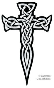 Large celtic cross dagger iron on patch embroidered irish image is loading large celtic cross dagger iron on patch embroidered voltagebd Images