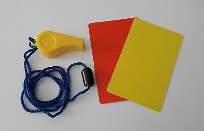 Details about  /FOOTBALL REFEREE KIT WHISTLE RED YELLOW CARDS REF SCORE POCKET SET WORLD CUP UK