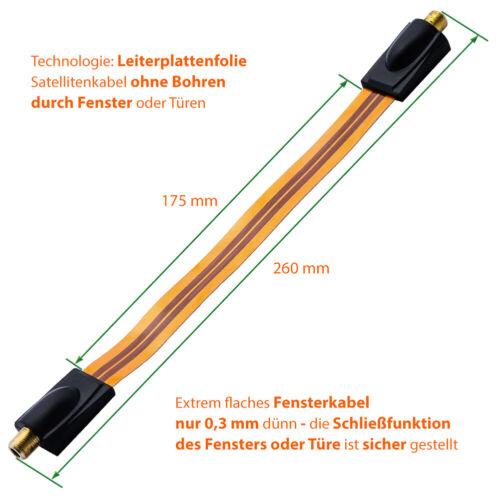2x F-Stecker 1x SAT Fensterdurchführung extrem flach 26cm Antennenkabel F Buchse