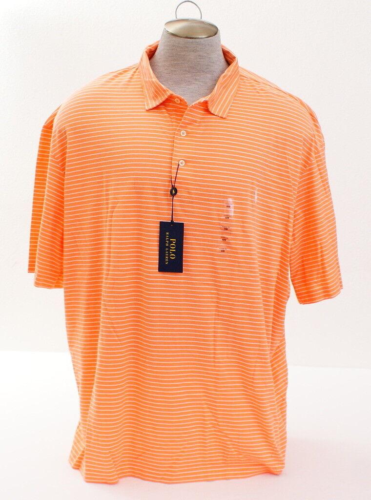 Polo Ralph Lauren orange & White Stripe Short Sleeve Polo Shirt Men's 4XB NWT