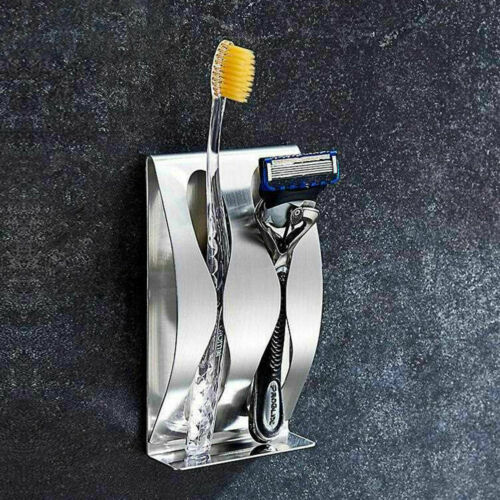 Stainless Steel Toothpaste Dispenser Toothbrush Holder Set Wall Mount Stand