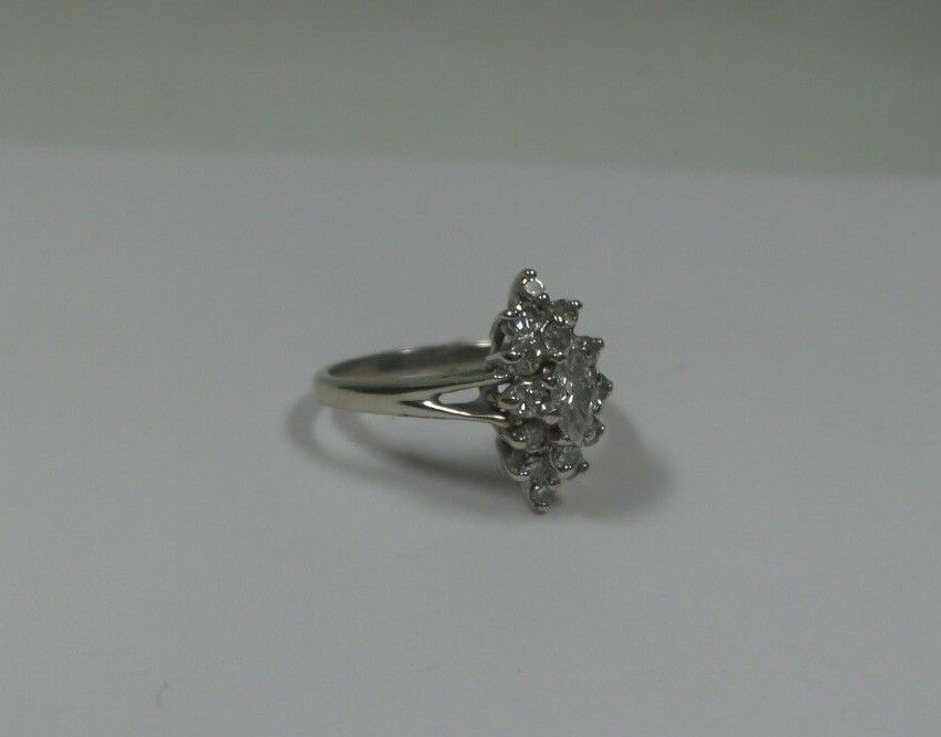 (MA4) 14k White gold Women 's Diamond Ring @ 2.7 Grams .55tcw Size 6