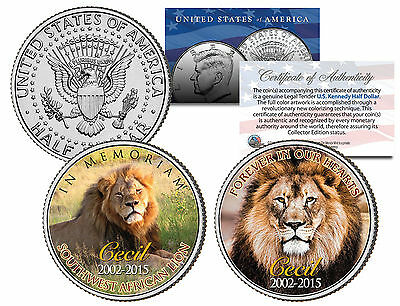 CECIL AFRICAN LIAN IN MEMORIAM 2002-2015 24KT GOLD JFK HALF DOLLAR 2 COIN SET!
