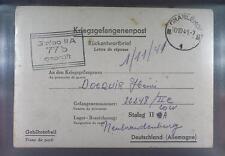 Camp Stalag IIA Neubrandenburg 1941 POW to Belgium Kriegsgefangenenpost L77d